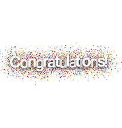 Congratulations paper poster vector image vector image