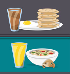 Delicious breakfast and lunch menu restaurant vector