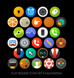 Flat round icon set 9-multimedia vector