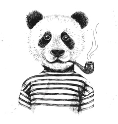 Hand drawn of hipster panda vector image