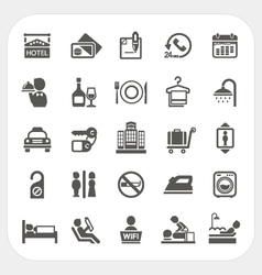 Hotel and Hotel Services icons set vector image