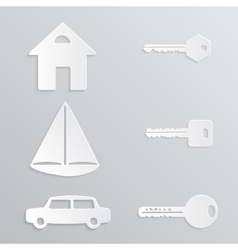 House yacht car key paper-cut vector