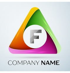 Letter f logo symbol in the colorful triangle vector