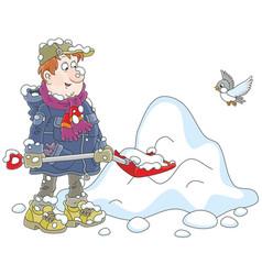 Man shoveling snow vector