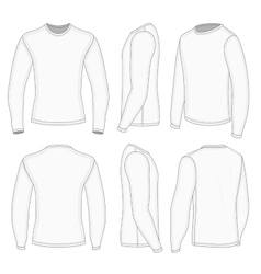 Mens white long sleeve t-shirt vector image vector image