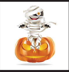 Mummy sitting on halloween pumpkin vector