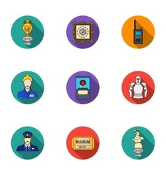 Museum set icons in flat style big collection of vector