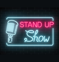 Neon stand up show sign with retro microphone on vector