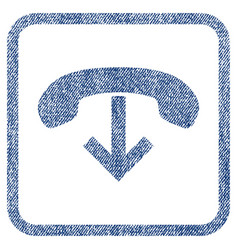 phone hang up fabric textured icon vector image
