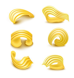 realistic detailed 3d different types butter curls vector image