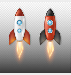 Realistic retro space rocket ship launch vector