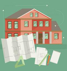 Set of architect concept design flat line vector