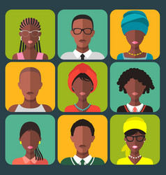 Set of different african people app icons vector
