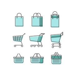 Shopping bag cart basket line web icons set vector