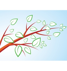 tree branch with leaves over blue sky vector image vector image