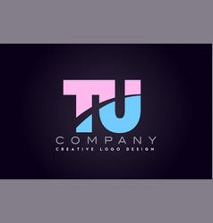 tu alphabet letter join joined letter logo design vector image