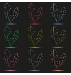 Various color outline feathers symbols with shadow vector