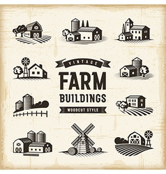 Vintage farm buildings set vector