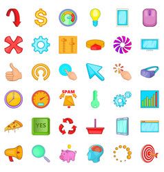 Work diagram icons set cartoon style vector