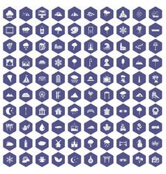 100 scenery icons hexagon purple vector image vector image