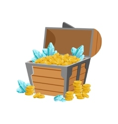 Half open pirate chest with golden coins and blue vector