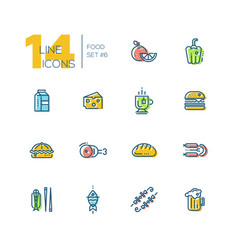 Kinds of food cafe menu thick line icons set vector