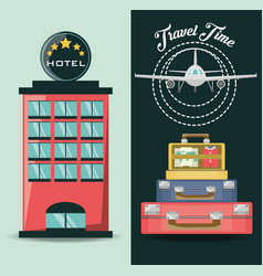 Airplane with bags and hotel destination vector