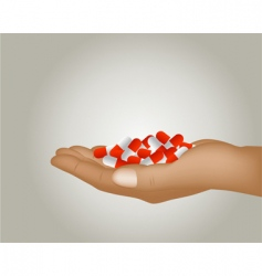 Hand with pills vector