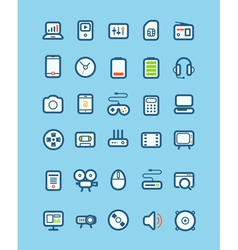 Different tech equipment icons vector image