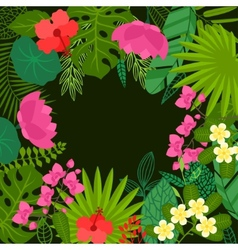 Background of stylized tropical plants leaves and vector image