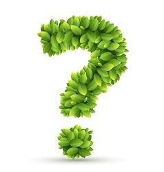 Question mark alphabet of green leaves vector