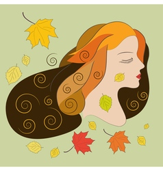 Young woman with autumn leaves flat vector
