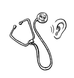 Medical stethoscope and human ear vector