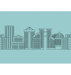 Seamless horizontal ornament city skyscrapers vector