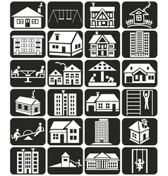 Facade houses and playground vector