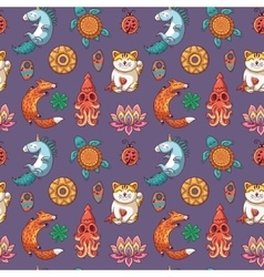 Seamless pattern with good luck charms vector