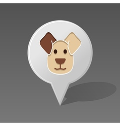 Dog pin map icon animal head vector