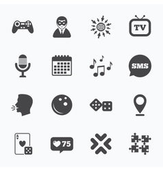 Entertainment icons game bowling and puzzle vector