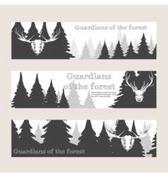 Horizontal banners with forest and deer vector