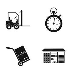 Autoloader goods trolley stop watch warehouse vector