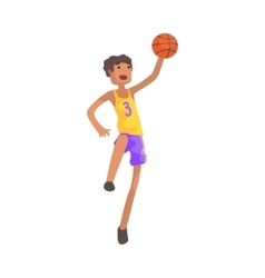 Basketball player jumping action sticker vector