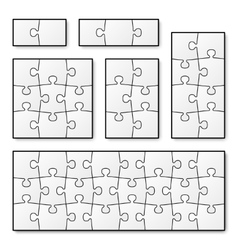 Blank puzzle pieces for jigsaw game vector