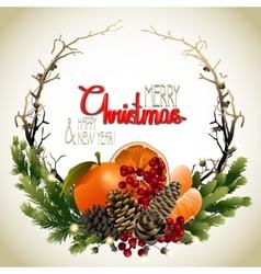 Christmas fir wreath vector