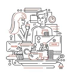 Coffee Break - line design vector image vector image