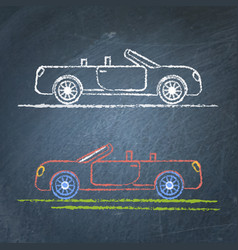 Convertible car sketch on chalkboard vector