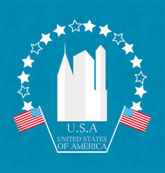 cute city with american flag symbol vector image