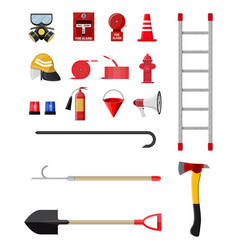 Firefighting set fire protection equipment vector