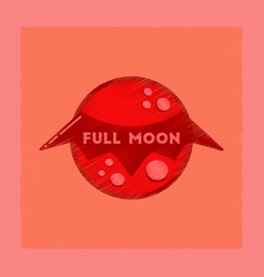 Flat shading style icon full moon bat vector
