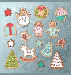 gingerbread set vector image vector image