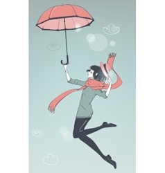 Girl fly with umbrella vector